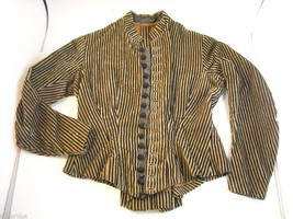 Vintage Victorian style Black and Tan Striped Corduroy Bodice