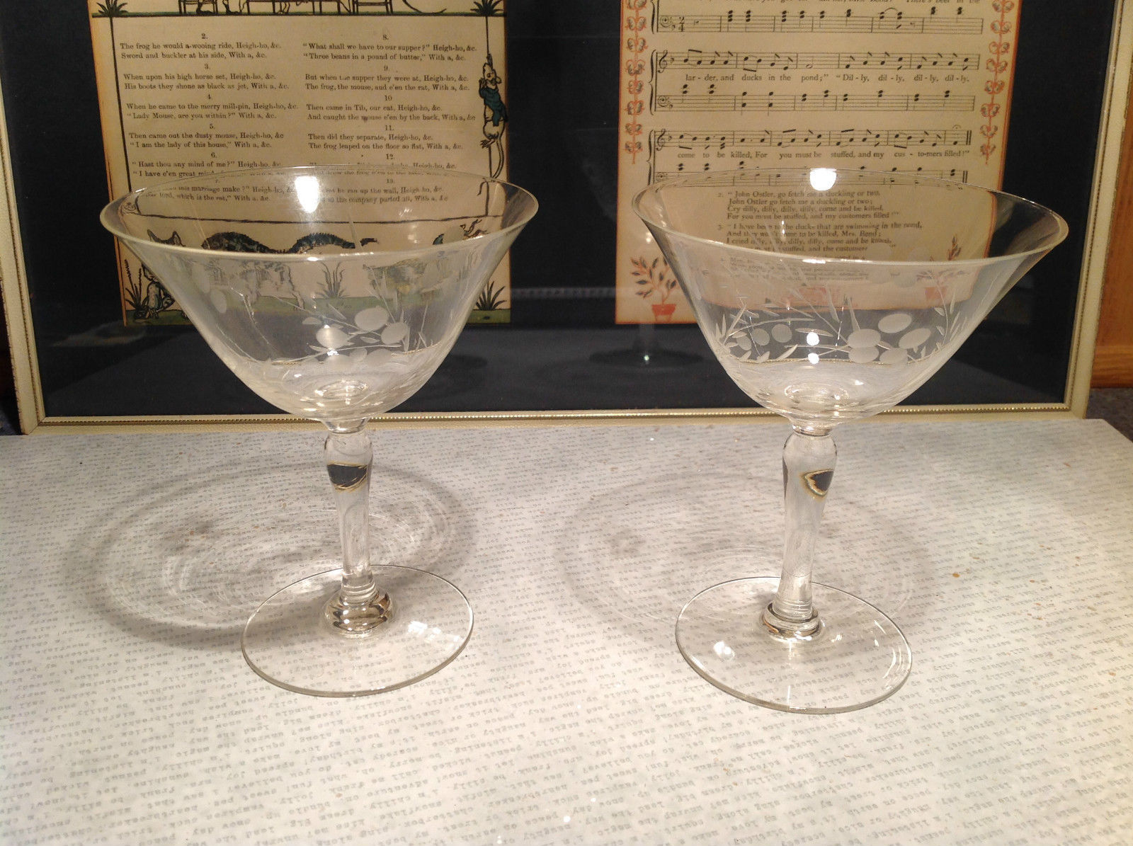 Vintage Two Piece Set Crystal Copper Wheel Engraving Wine Glasses