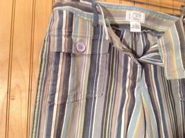 Size 6 Tan White Blue Capri Pants Anne Taylor Loft Stretch Two Front Pockets image 5