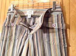Size 6 Tan White Blue Capri Pants Anne Taylor Loft Stretch Two Front Pockets image 6