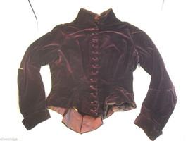 Vintage Victorian style burgundy velvet long sleeve bodice jacket