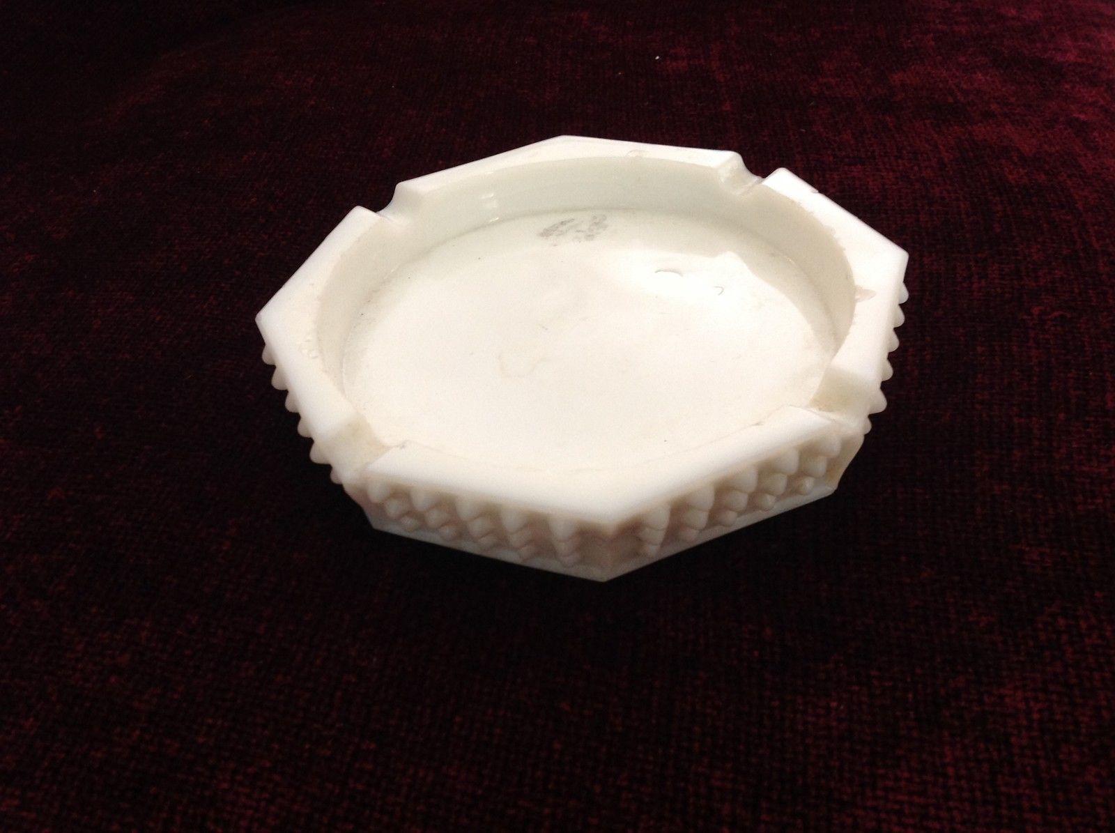 Vintage White Hobnail Glass Ashtray