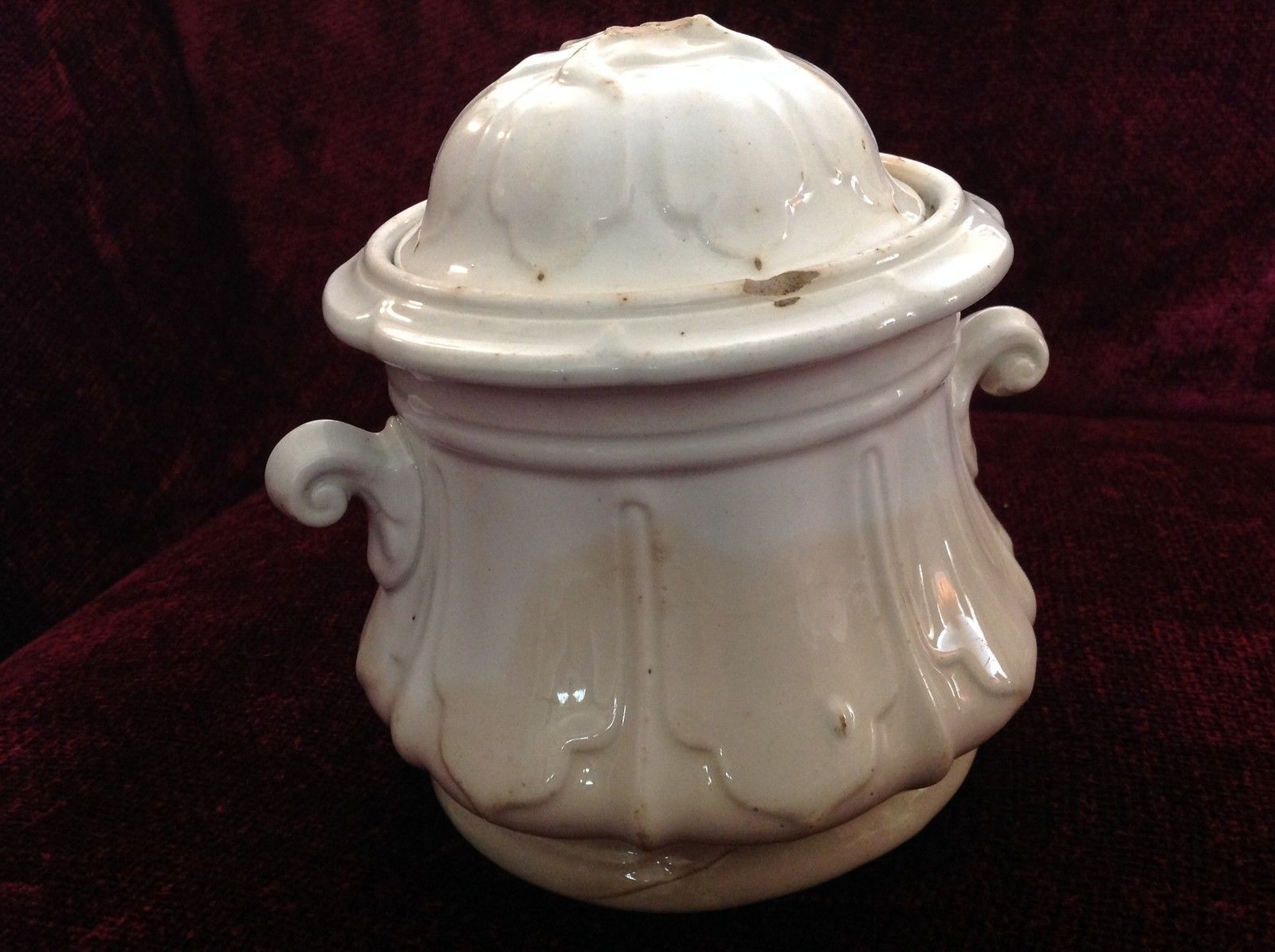 Vintage White Cookie Jar or Canister with Lid Small Handles on Sides