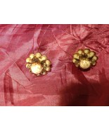 Vintage flower earrings  Cream light pink - $24.74