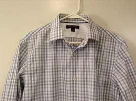 Banana Republic Slim Fit Button Up Shirt White with Blue Brown Stripes Size M image 3