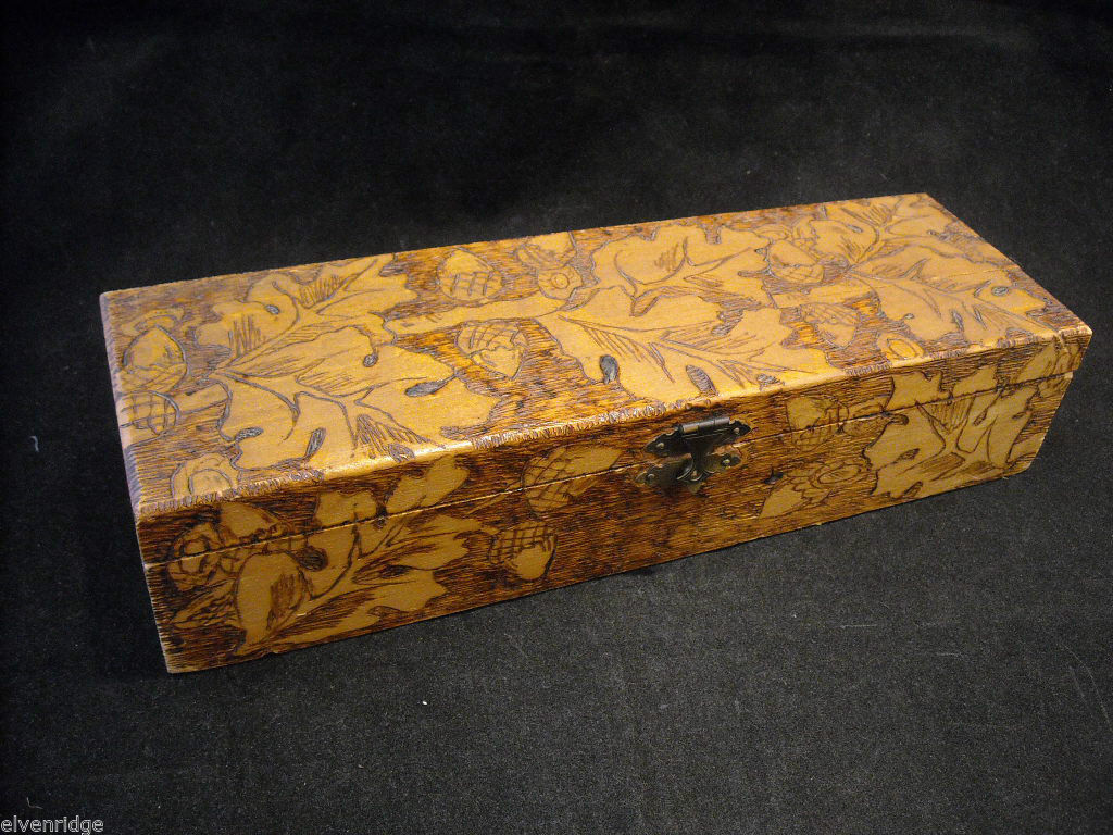 Primary image for Vintage hand decorated oblong wood box with wood burned design