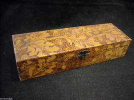 Vintage hand decorated oblong wood box with wood burned design
