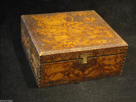 Vintage hand decorated wood box with wood burning design