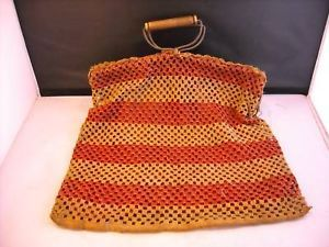 Vintage hand made Handbag metal hinges wood handle crocheted