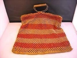 Vintage hand made Handbag metal hinges wood handle crocheted