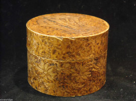 Vintage hand decorated round box with wood burning design