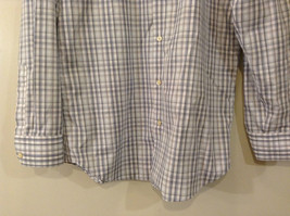 Banana Republic Slim Fit Button Up Shirt White with Blue Brown Stripes Size M image 4