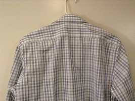 Banana Republic Slim Fit Button Up Shirt White with Blue Brown Stripes Size M image 5