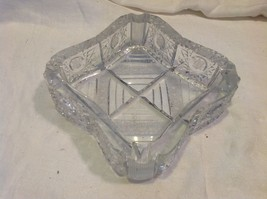 Vintage heavyweight lead crystal cut ashtray American Brilliant