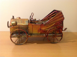 Vintage handmade rustic tin metal musical box Old Car