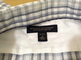Banana Republic Slim Fit Button Up Shirt White with Blue Brown Stripes Size M image 8