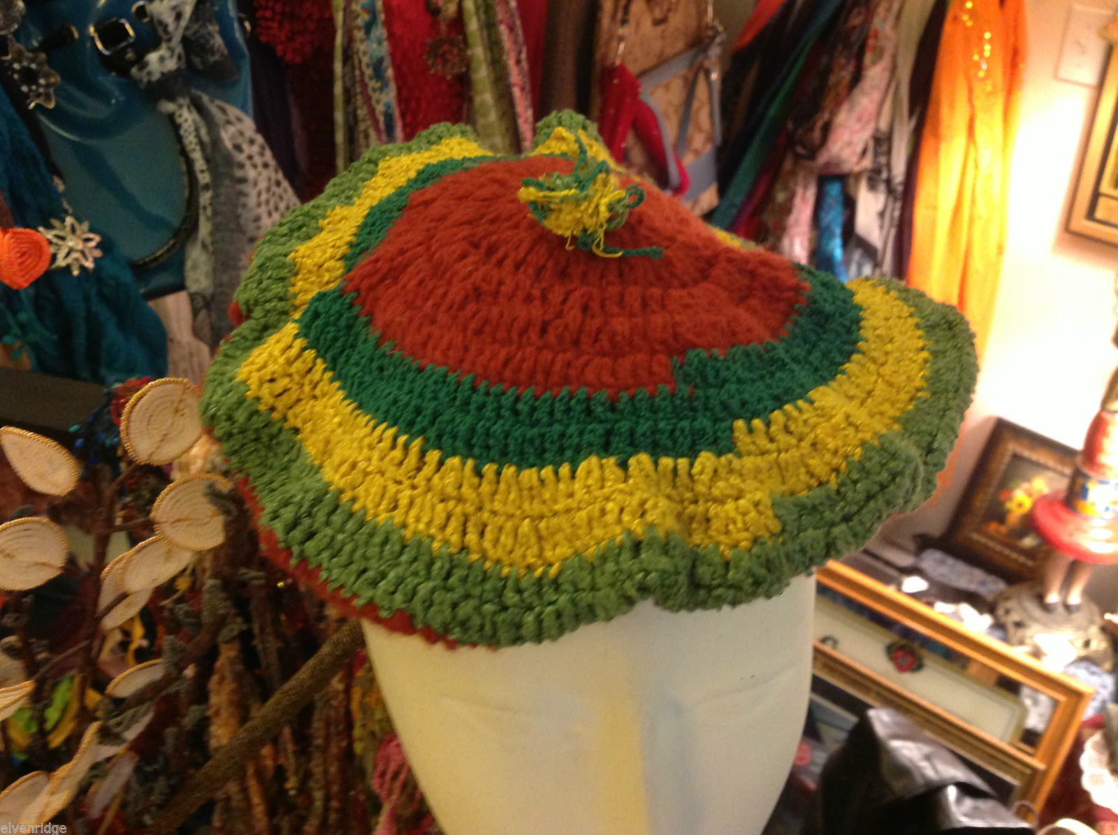 Vintage green red yellow hand made crocheted beret
