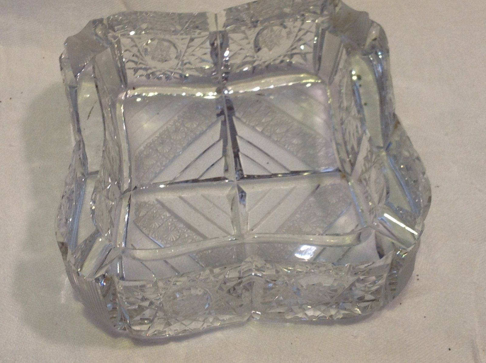 Vintage heavyweight lead crystal cut ashtray American Brilliant #2