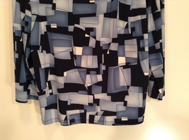 Size XL Blue Black Long Sleeve Blouse Stretchy Briggs NY Excellent Condition image 3