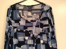 Size XL Blue Black Long Sleeve Blouse Stretchy Briggs NY Excellent Condition image 2