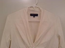 Size Small Natural White V Neck Jones New York Top Buckle Front Decoration image 3