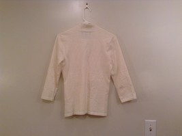 Size Small Natural White V Neck Jones New York Top Buckle Front Decoration image 2