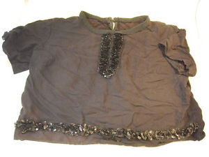 Vintage Women's Top Black w Sequins short sleeve