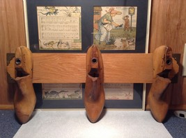 Vintage Wooden Coat Rack Made of 3 Wooden Clogs with Carvings on Clogs