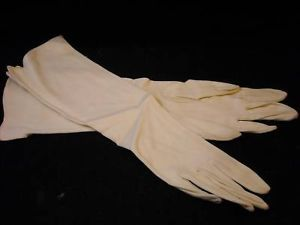 Vintage almond Grandoe ladies half length gloves sz 6.5