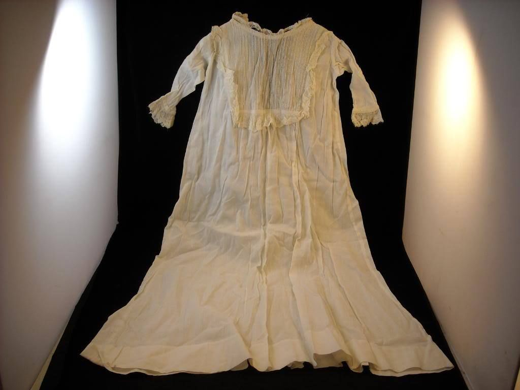 Vintage baby christening dress long white pleated lace