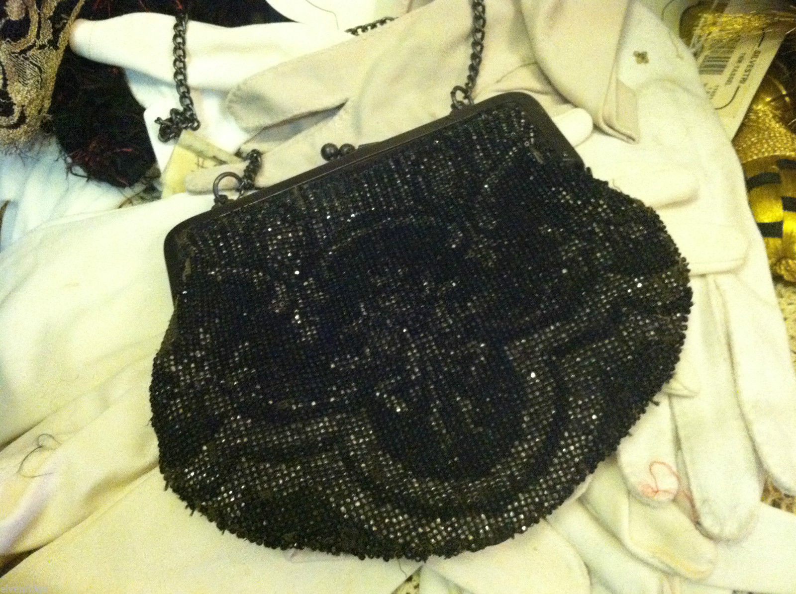 Vintage black beaded purse with black chain and clasp