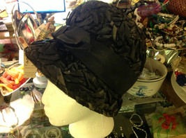 Vintage black or very dark blue flapper style hat all straw with ribbon