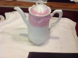 Vintage china ceramic pink and white teapot with lid great condition