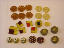Vintage collection of cast plastic or resin buttons earth tones yellows oranges