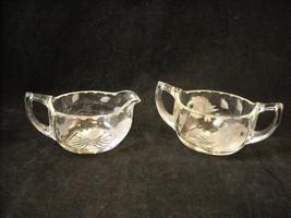 Vintage crystal creamer sugar set rose engraved glass