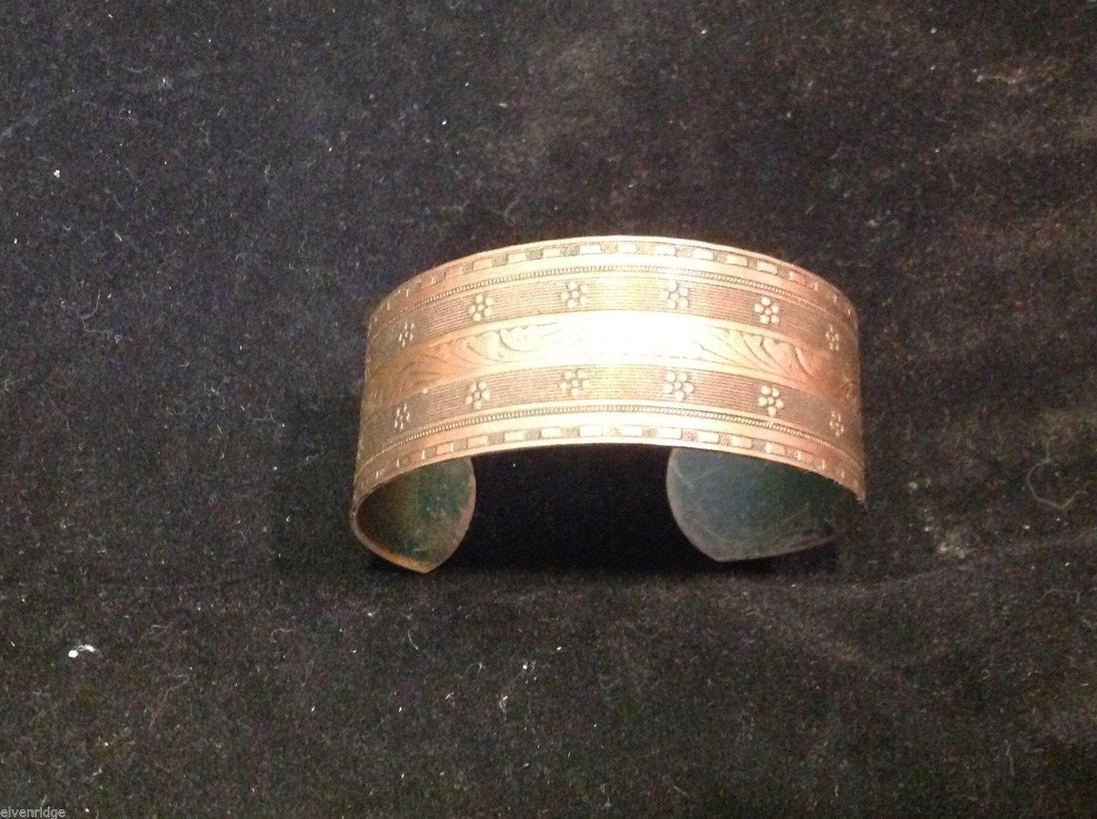 Vintage copper cuff bracelet with engraving
