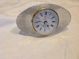 Vintage crystal desk personal quartz clock needs battery from estate