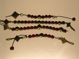 Vintage curtain pull back ties with Garnet Beads