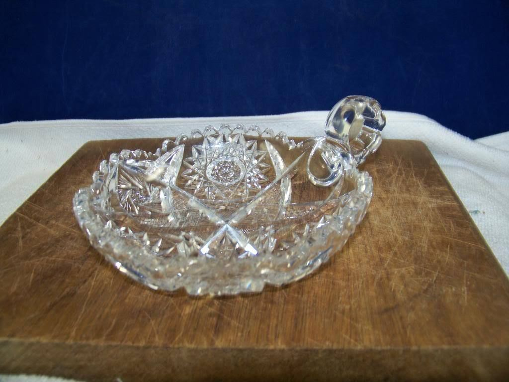 Vintage detailed cut Lead crystal handled dish
