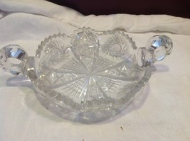Vintage cut crystal candy dish with handles from estate early 1900s