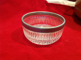 Vintage cut crystal silver plate rimmed candy dish ca mid 1900s