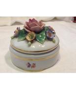 Vintage floral porcelain trinket box presumed Staffordshire - $49.49