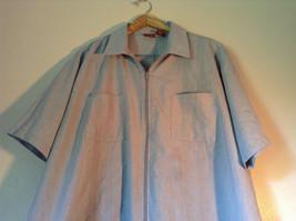 Size XX Light Gray Short Sleeve Shirt Full Front Zipper Closure Lions Den image 2