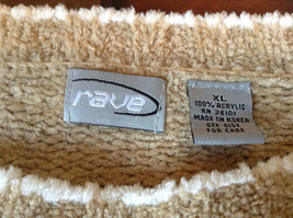 Size XL Light Brown Trimmed with White Rave Long Sleeve Sweater image 4