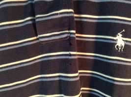 Size XL Navy Blue and White Striped Polo by Ralph Lauren Short Sleeve Polo Shirt image 4