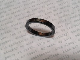 Skinny Flat Hematite Natural Stone Ring Sizes 6.5 to 9 Shiny Metallic Look image 3
