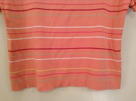 Size XL Liz Claiborne Sport Short Sleeve Salmon Pink with Stripes Scoop Neck image 4