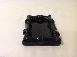 Small Black Ceramic Glazed Handmade Bamboo Design Tray or Soap Dish image 5