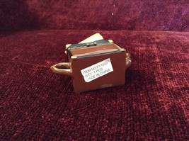 Small Brown Chest Yellow Suitcase Hat Binoculars Figurine Resembles a Teapot image 5