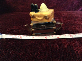 Small Brown Chest Yellow Suitcase Hat Binoculars Figurine Resembles a Teapot image 6